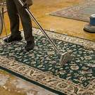Oriental rug being cleaned using the extraction process