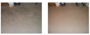 Before and after photos of soiled carpet