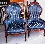 Pair of antique, blue, Queen Ann chairs
