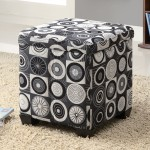 Fancy black and white ottoman